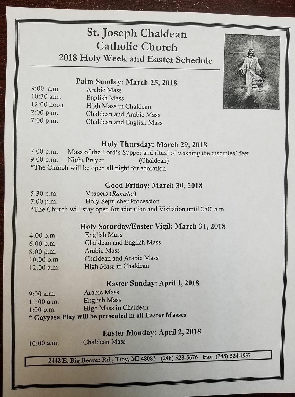 Special Mass Schedules - ECRC - Eastern Catholic Re-Evangelization